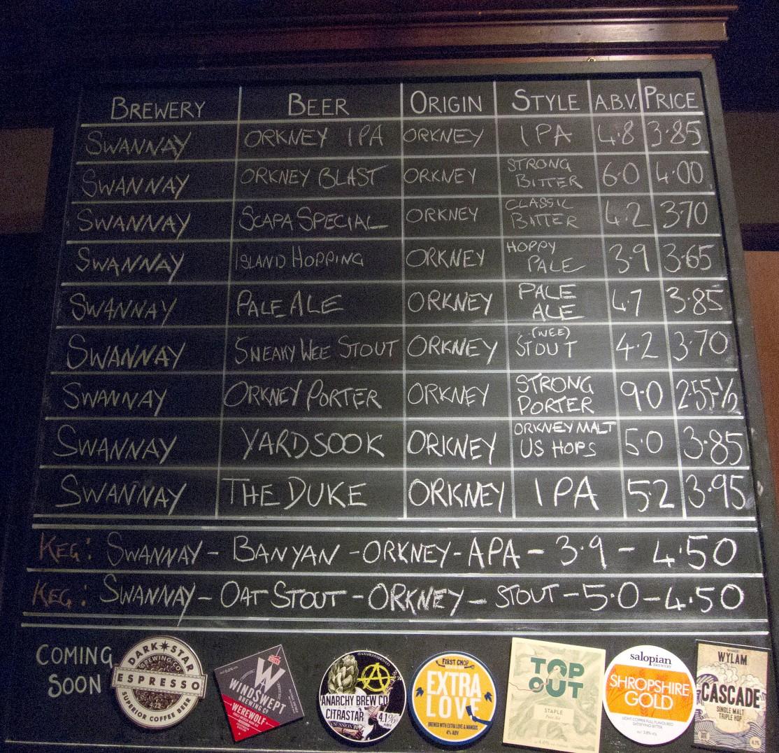 Swannay tap list