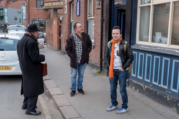 Roger Protz, Simon Everett and Martin Taylor members of 'The Tickers' outside The Fat Cat during a promo photo shoot